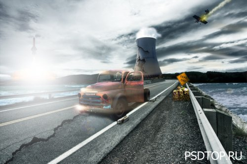 Пейзаж ядерной катастрофы в фотошоп
