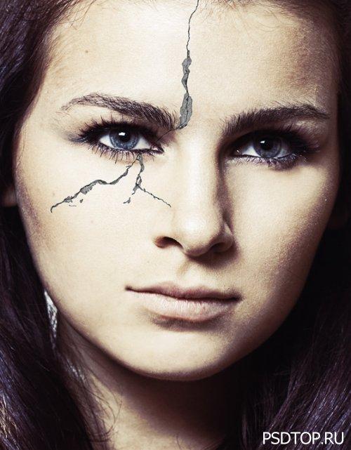 Создаем реалистичный эффект трещины на лице в Фотошоп